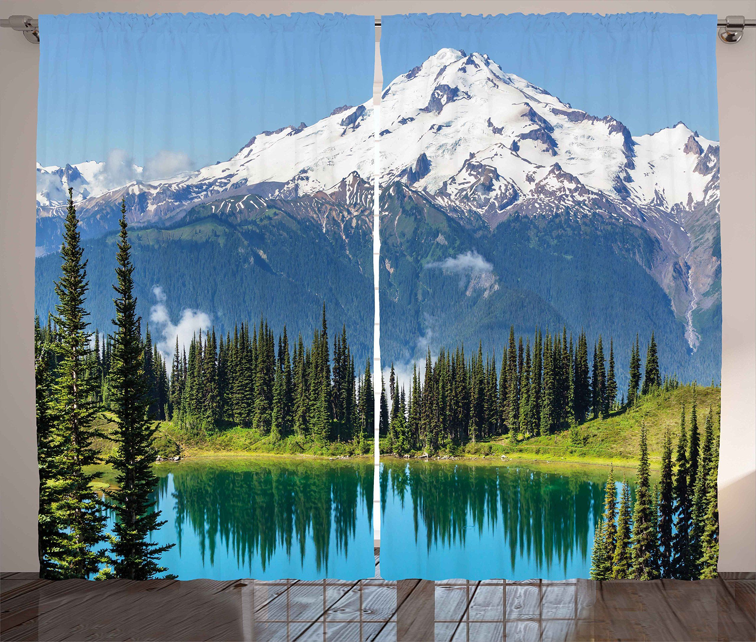 Ambesonne nature curtains by idyllic crystal lake