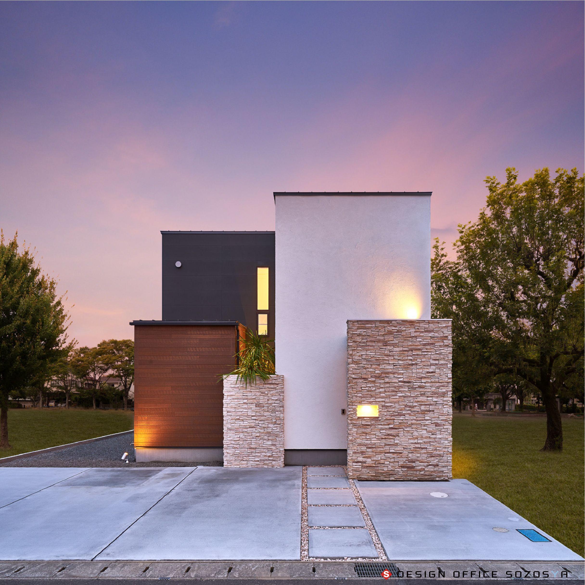 新築住宅の外観アイディア10選 箱型なナウトレンドデザイン: デザインオフィス創造舎