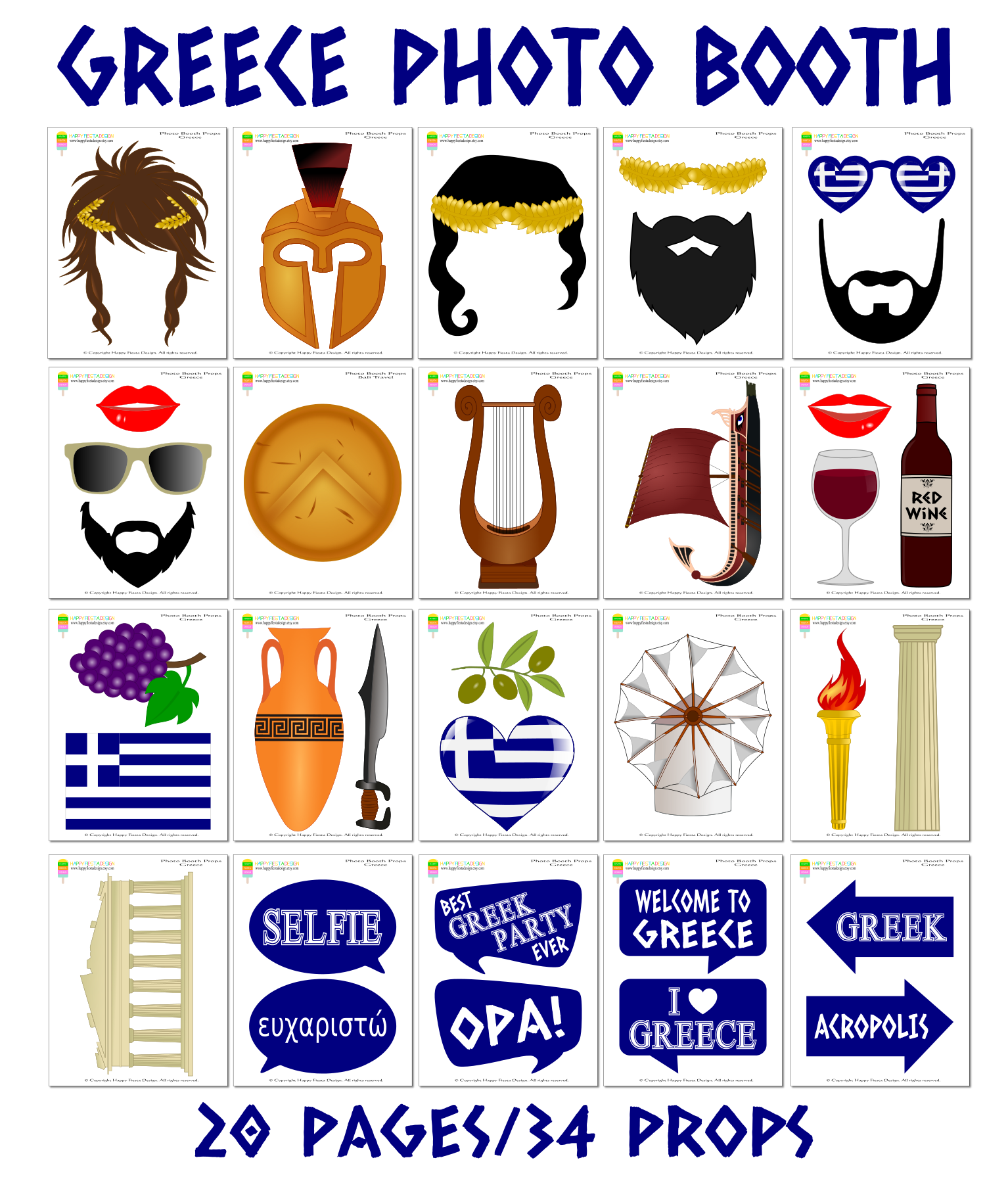 Printable Greece Photo Booth Props Toga Party Photo Props