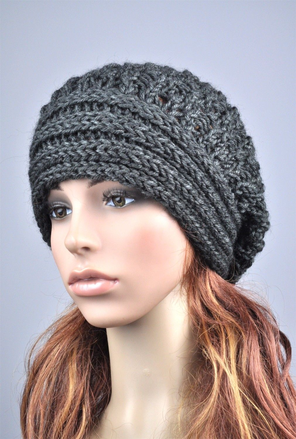 Hand knit hat woman man unisex wool hat slouchy Hat with band charcoal dark  grey… f71957d9f88
