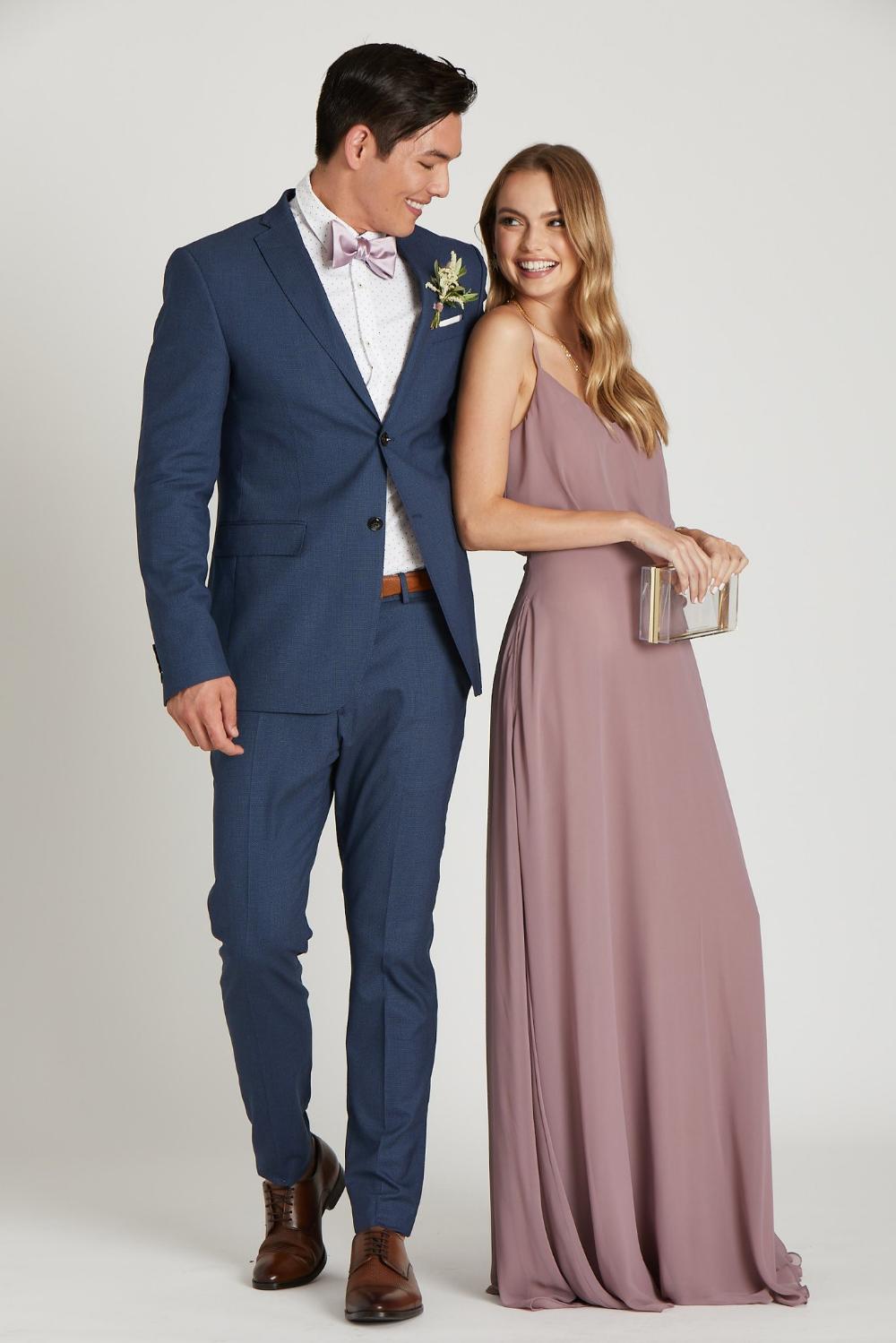 Daniel Bow Tie Dark Mauve Sateen Blue Suit Wedding Mauve Wedding Colors Mauve Bridesmaid Dress