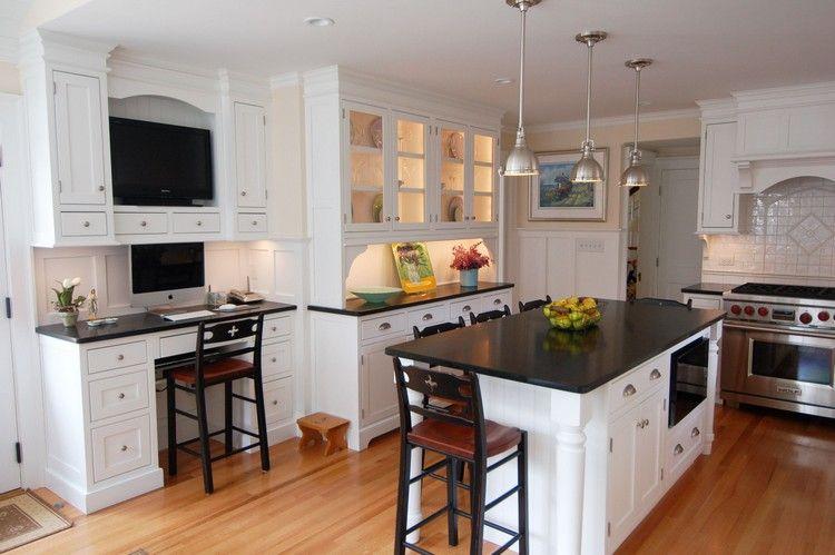 plan de travail granit noir cuisine-blanc-bois | Decor | Pinterest ...