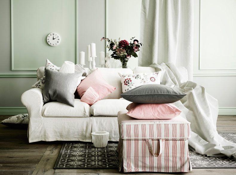 3er-Sofa und EKTORP Hocker mit Bezug u201eMobackau201c in Beige Rot mit - wohnzimmer rot grau beige