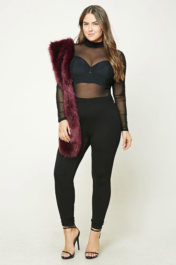 7c24712708a6 Plus Size Mesh Knit Jumpsuit
