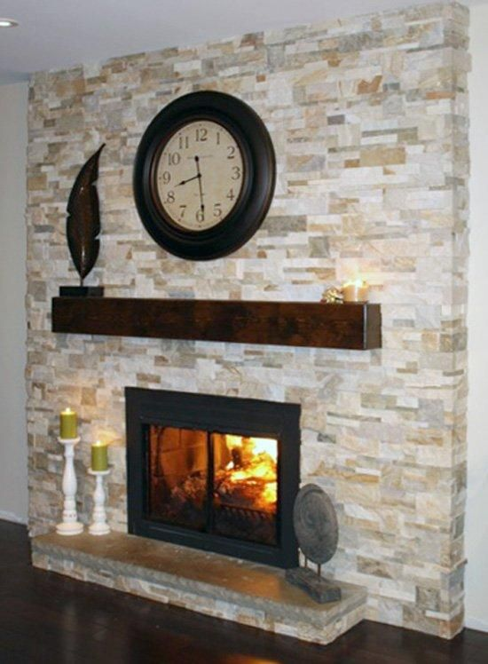 Wood Modern Beam Fireplace Mantel
