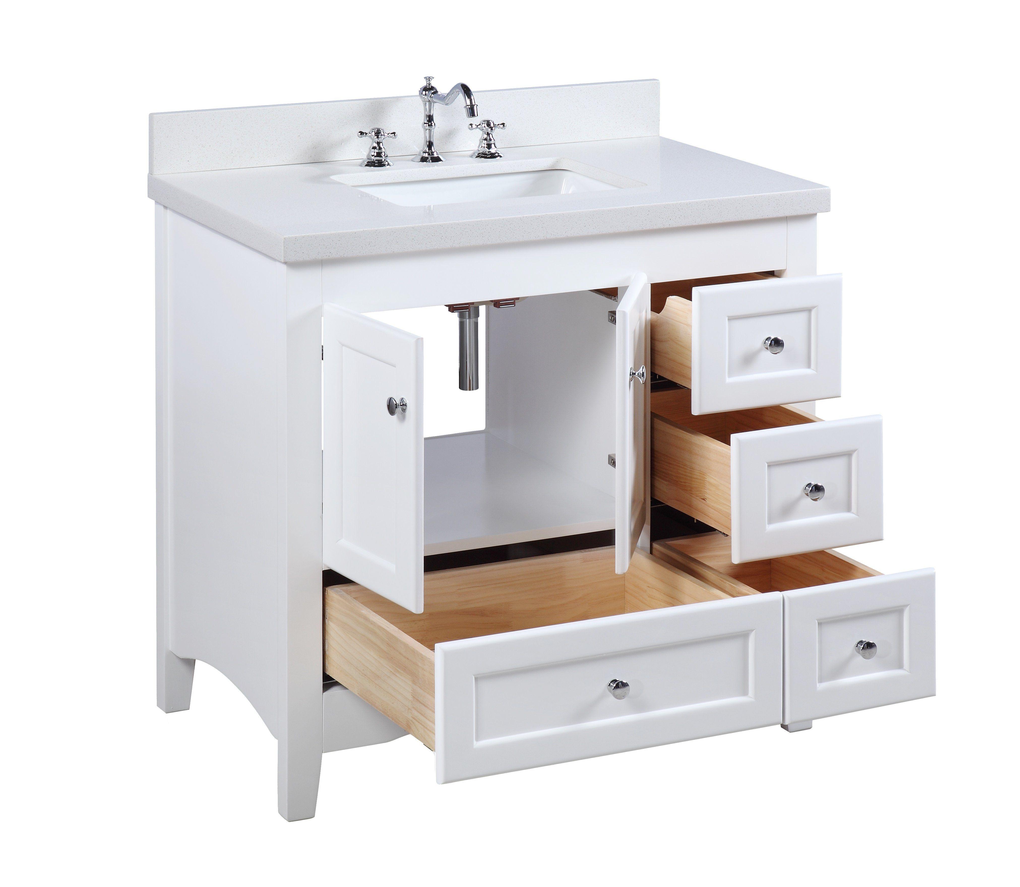 Abbey 36-inch Vanity (Quartz/White) | primitive bathroom | Pinterest ...