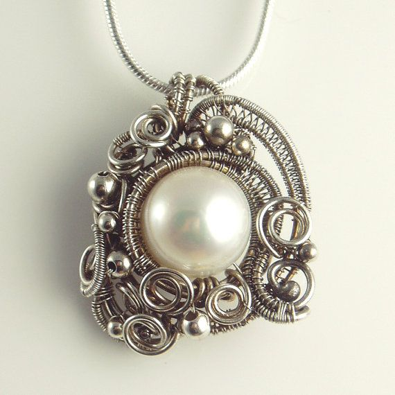 Coral inspired necklace - White Freshwater Pearl and Sterling Silver