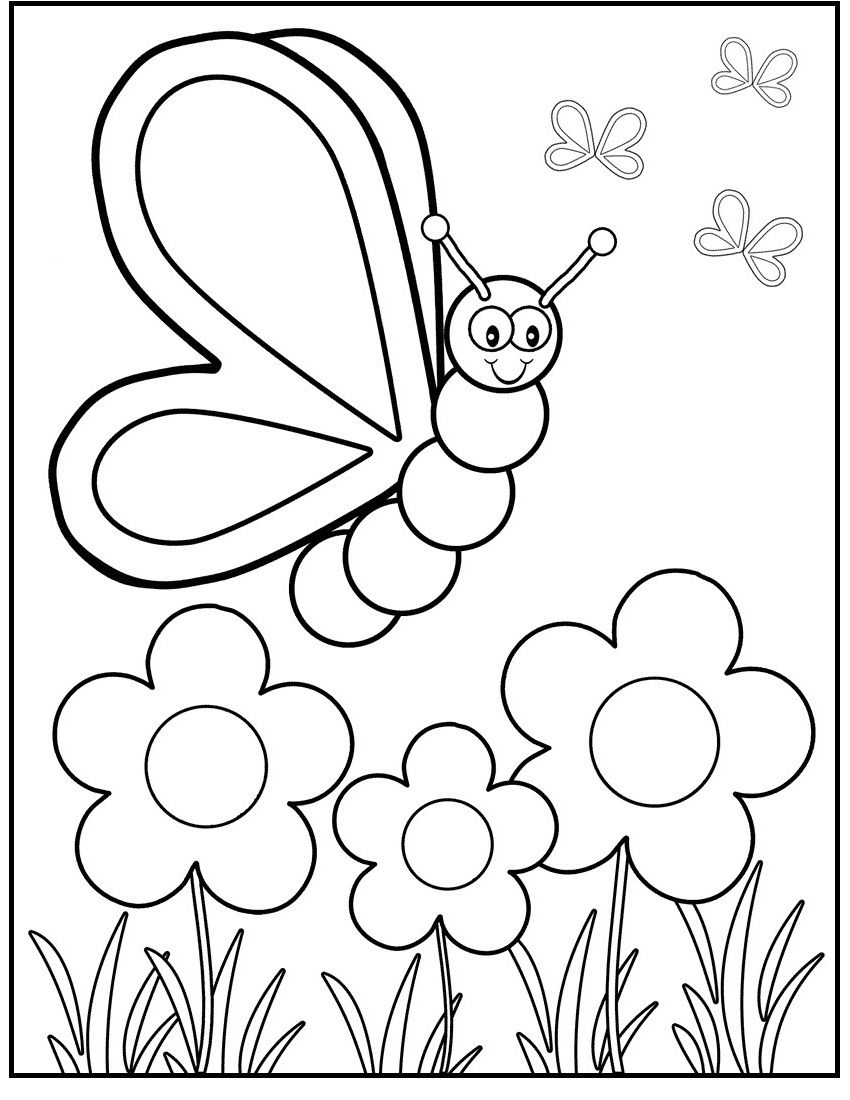 Butterfly On Spring Day Coloring Picture For Kids Spring