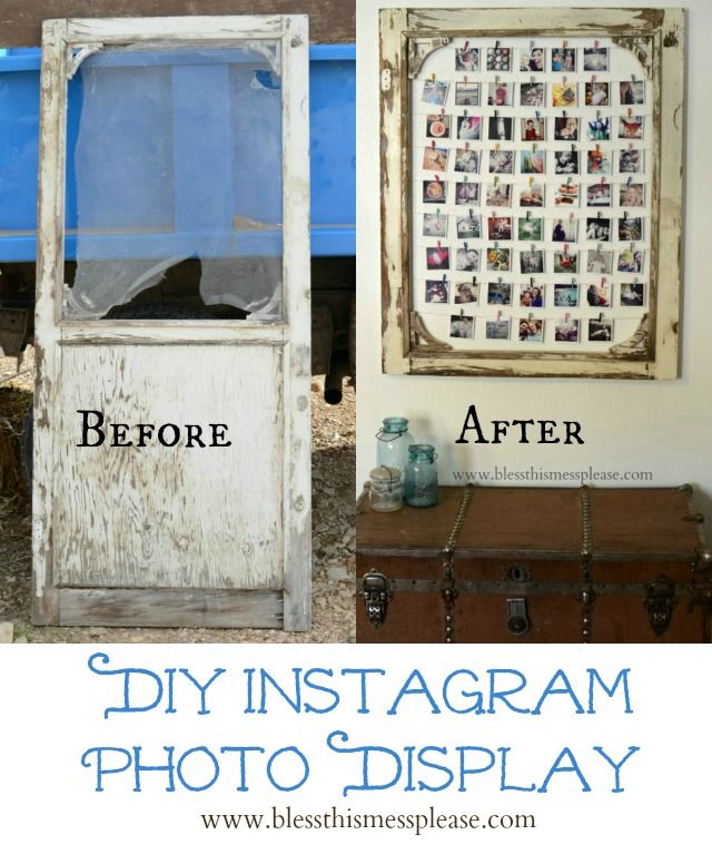 29f3a82caf2 DIY Instagram Photo Display made from an old screen door! You could also use  a big frame.
