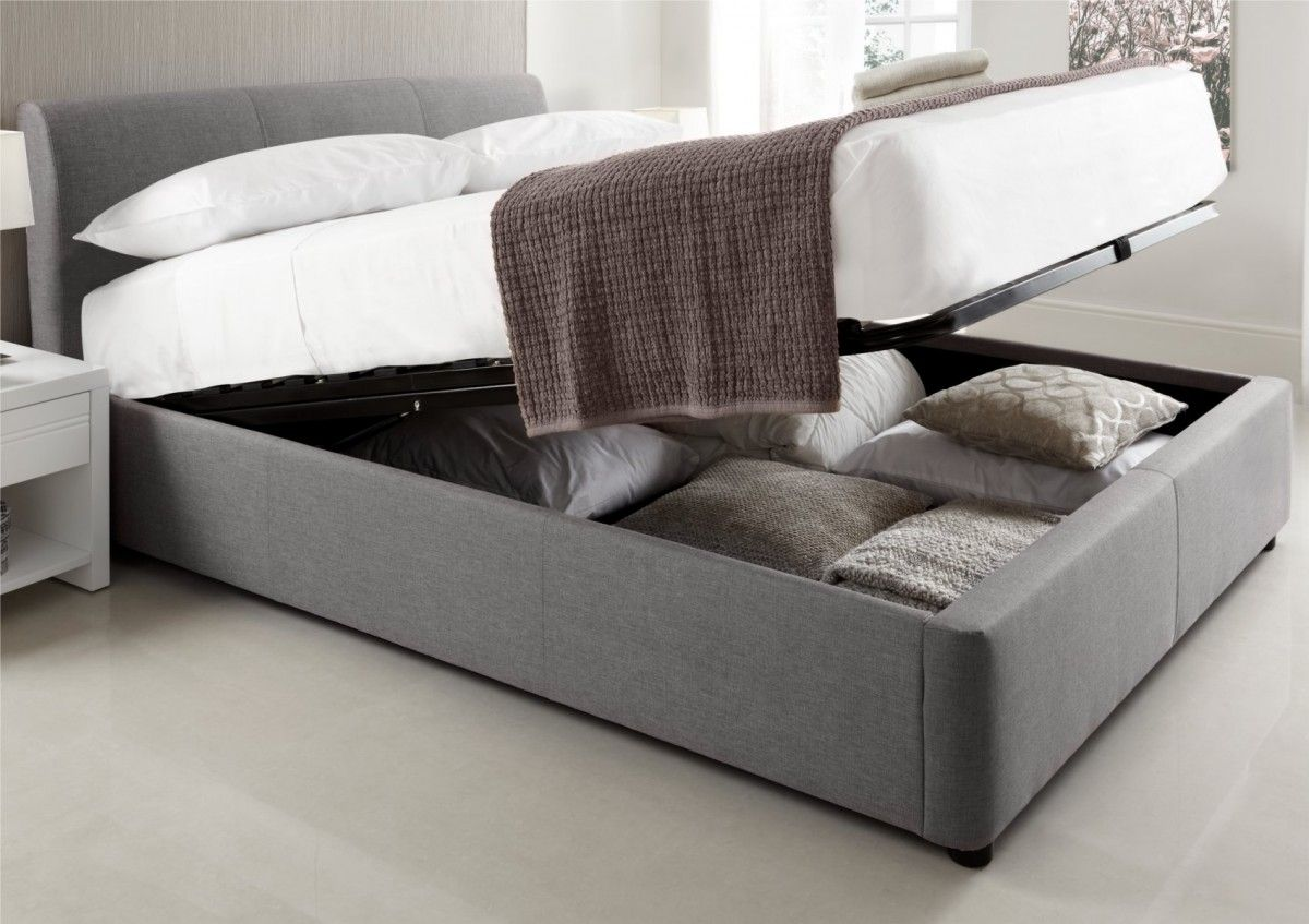 Serenity Upholstered Ottoman Storage Bed Grey Bedroom