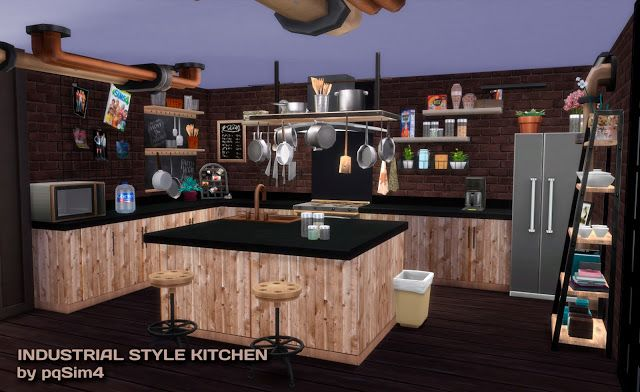 Sims 4 Cc S The Best Industrial Kitchen Set By Pqsim4 Sims 4 Cc