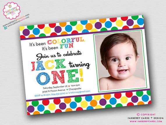 Primary Polka Dot First Birthday Party Invitation by inkberrycards – Polka Dot First Birthday Invitations