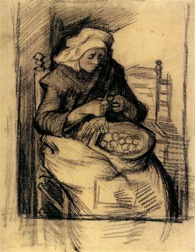 Woman Peeling Potatoes - Vincent van Gogh in th kitchen non-stop / happy Thanksgiving..