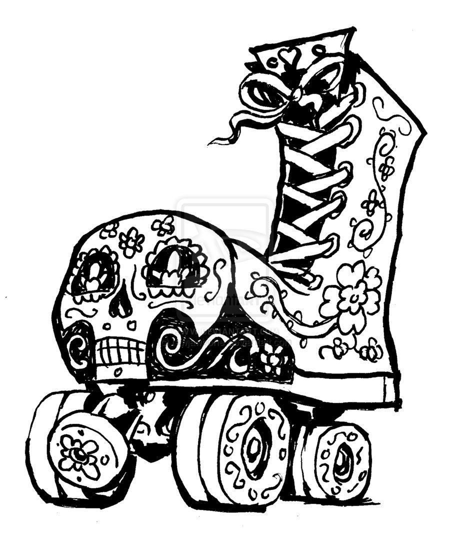 Day Of The Dead Roller Skate By Rawjawbone On Deviantart Roller Derby Girls Roller Derby Tattoo Roller Derby Art
