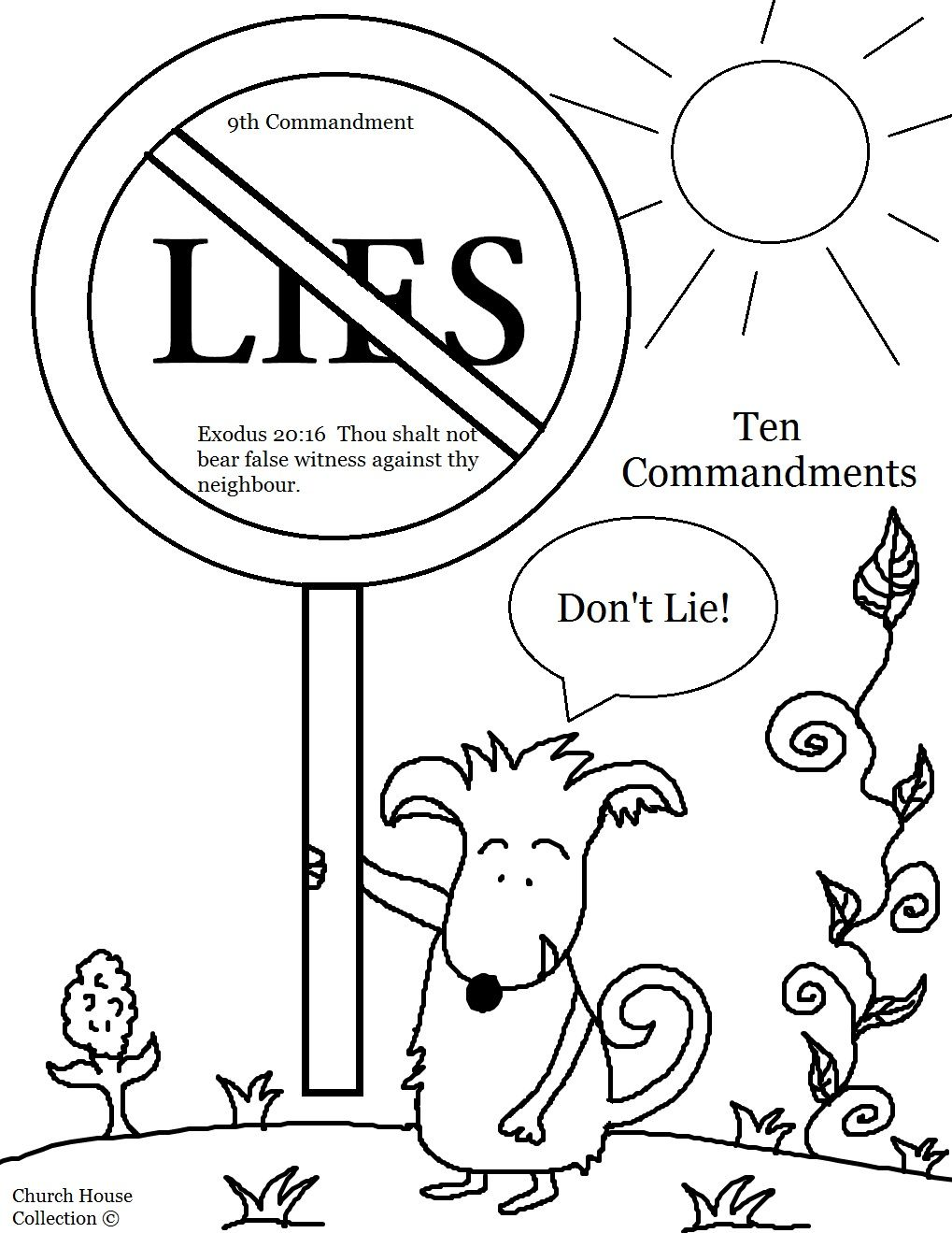 Thou Shalt Not Bear False Witness Against Thy Neighbor Lie Coloring Page For Kids