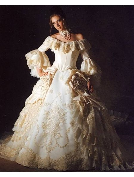 Victorian Style Wedding Dresses   ... Trumpet Sleeves Queen Style ...