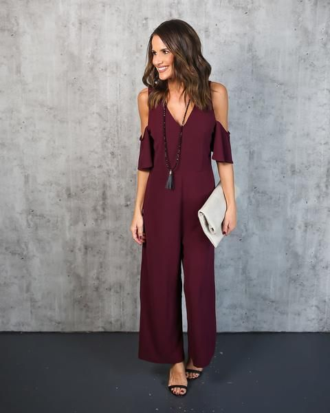 af849b47c87c Some Like It Hot Cold Shoulder Jumpsuit - Burgundy
