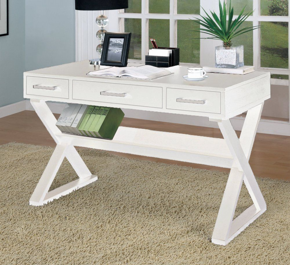 amazon - home office desk with triangular legs in white finish