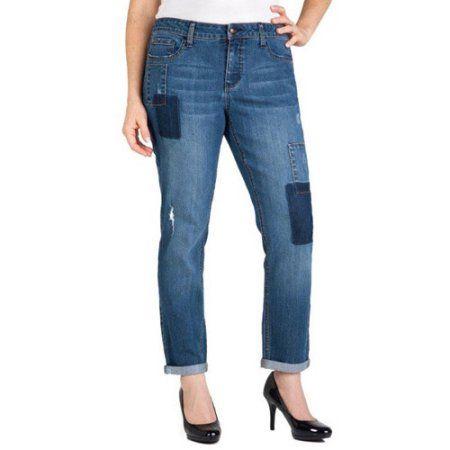 Faded Glory Women's Patchwork Boyfriend Jeans, Size: 6, Gray ...