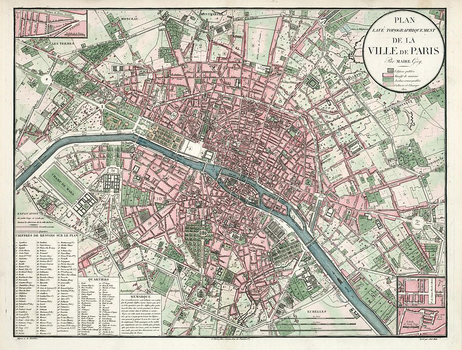 Historical Map Of The City Of Paris 1821 Vintage Paris Map Paris Map Paris Poster