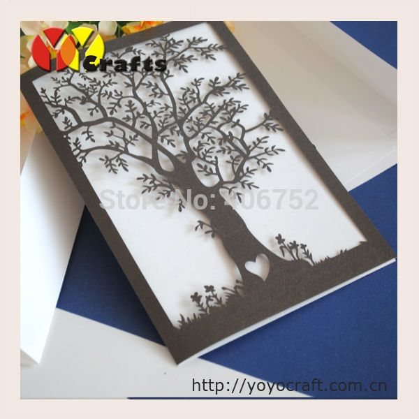 Fashion Wedding Decoration Laser Cut Invitation Card Love Tree With Envelop In Event