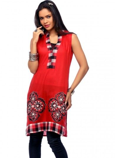 Red Cotton A Line Tunic