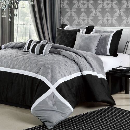 Quincy Comforter Set Black White Grey House Hunting