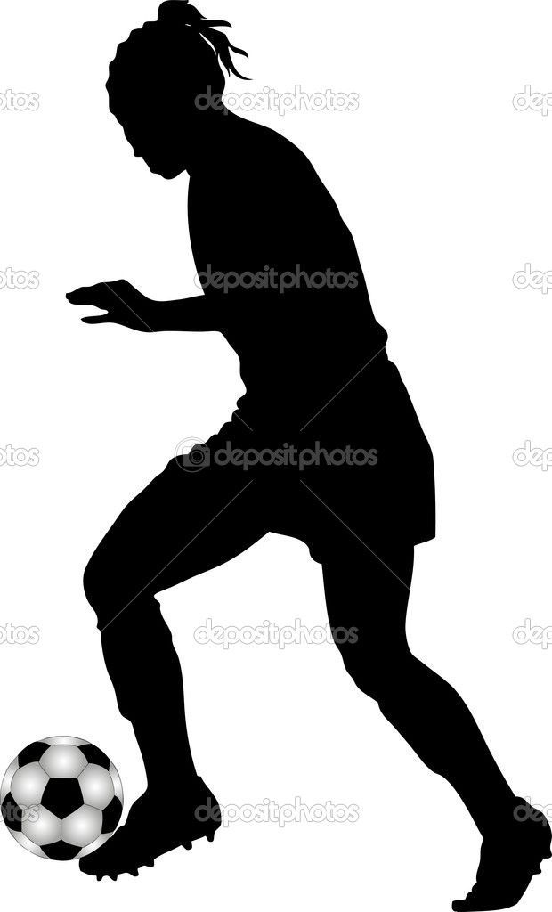 Silueta negra de jugadora de fútbol femenino.Ilustración de stock ...