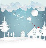 Vector illustration of winter season and Christmas day Santa Claus…