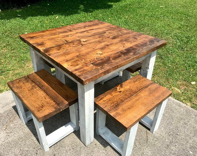 Square Farmhouse Table, Rustic Farmhouse Table, Dining Set with Stools, Table with Short Benches, Provincial Brown Top Gray White Wash Base images