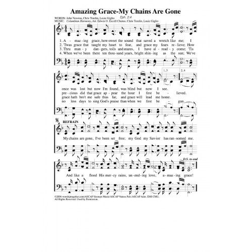 Amazing Grace Free Piano Sheet Music With Lyrics: Amazing Grace, My Chains Are Gone PDF Song Sheet