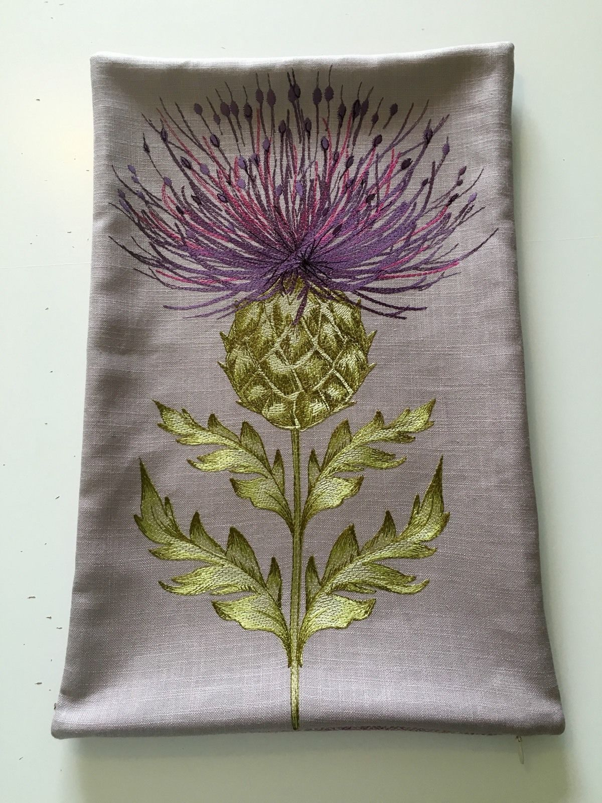"""Handmade Embroidered Thistle Cushion Cover - Purple FOR SALE • £27.50 • See Photos! Money Back Guarantee. Embroidered Thistle Cushion Covers with 100% wool backing. Rectangular 11""""x 18"""" Cushion cover. (12""""x20"""" feather cushion pad recommended for this cover) Concealed zip. Handmade to order. Made by 'Mini Cottage 131996412165"""