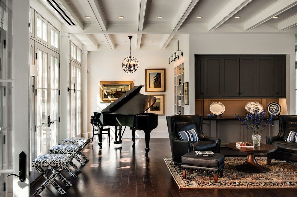 Grand Piano Room Ideas Living Room Beach Style With Ceiling Beams Wood Floor Built In Shelves Grand Piano Living Room Piano Living Rooms Eclectic Living Room