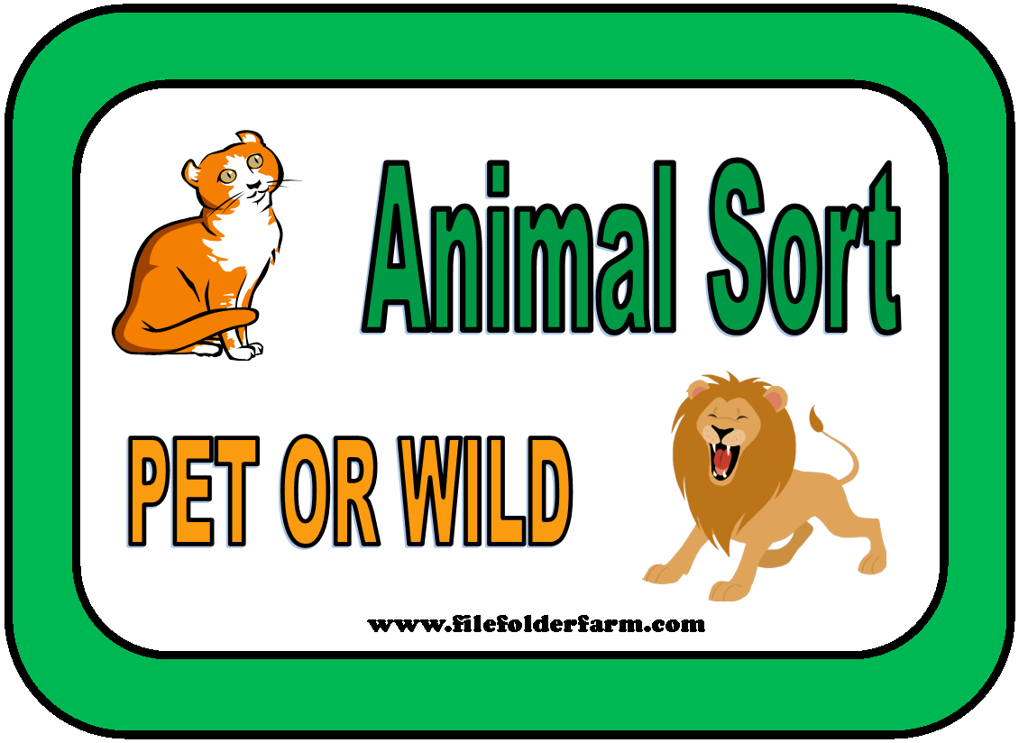 free file folder animal sort pet or wild animals preschool ideas pinterest folder games. Black Bedroom Furniture Sets. Home Design Ideas