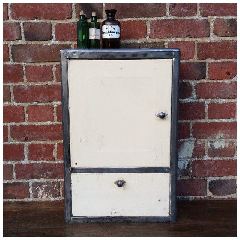A useful vintage metal French medicine cabinet. We have stripped the ...
