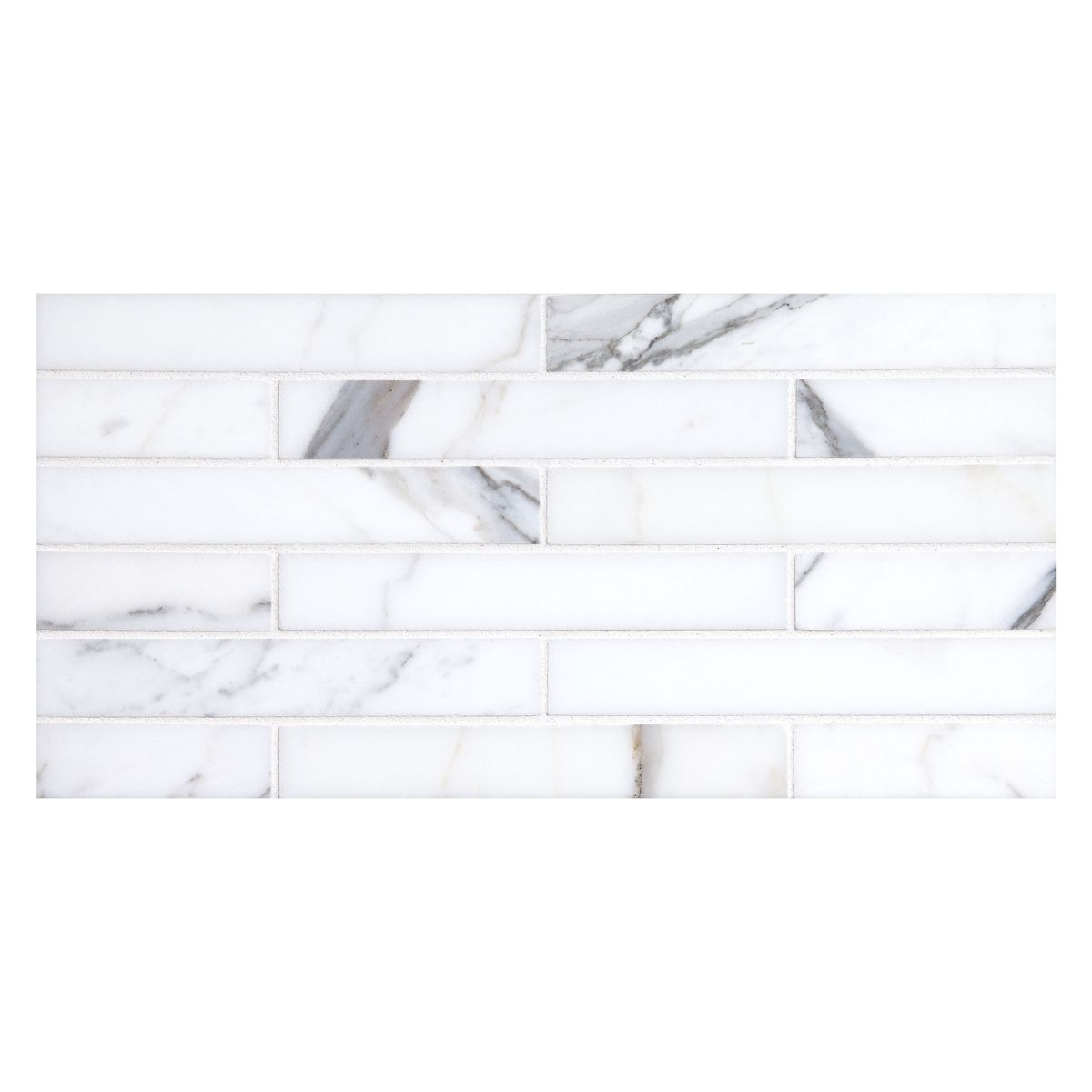 Complete Tile Collection Mosaic Tile Patterns Brick 1 X 6 Staggered Mi 039 S2 400 163 Color Calacatta Polished Stonemosaics Mosaic Calacatta Brick