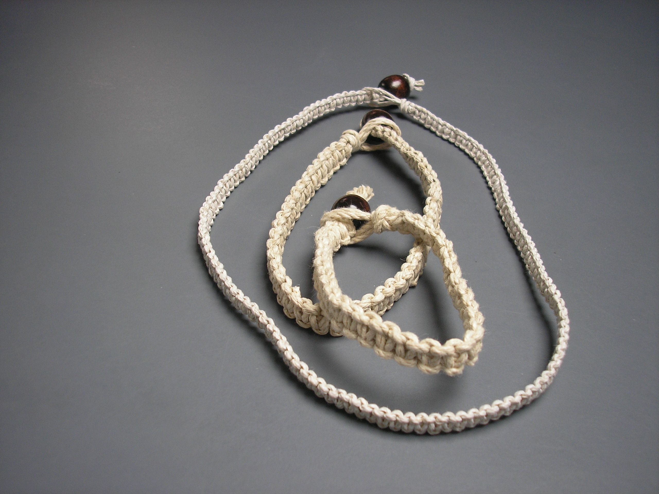 Matching 20 lb Flat Natural Hemp Jewelry Set Includes a Necklace