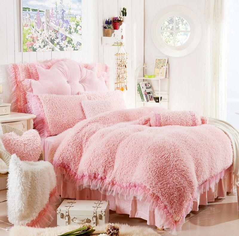 Pink Fur Comforter Set Velvet Bedding Sets Pink Bedding Set Apartment Bedding