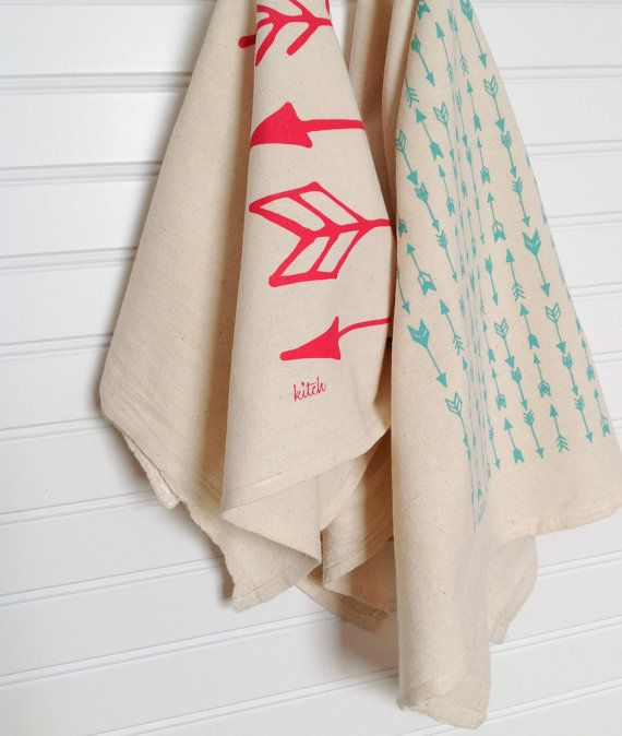 Tea Towel   Neon Pink And Teal Arrows On Organic Natural Unbleached Screen  Printed Flour Sack Kitchen Dish Cloth Kitch Woodland Katniss Pictures Gallery