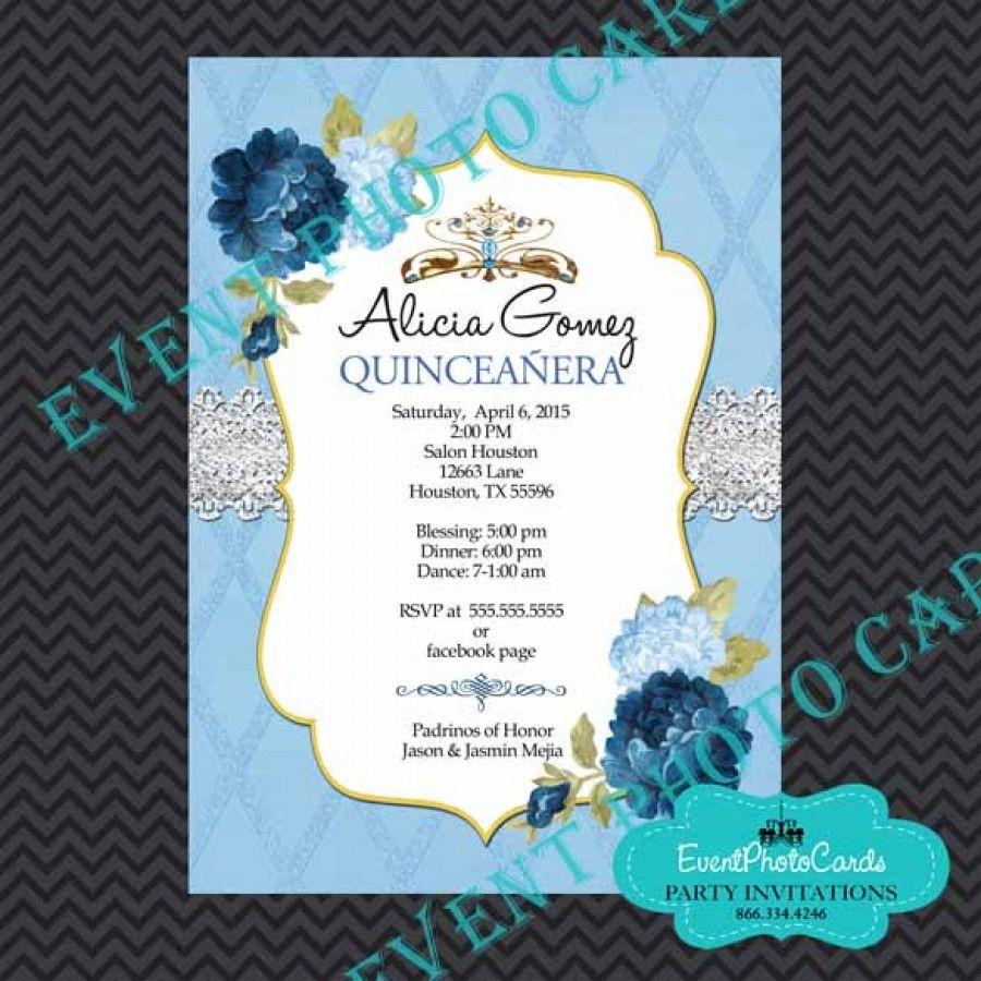 Princess Theme Sweet 15 Invitations - Floral, Watercolor Flowers ...
