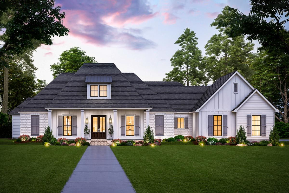 Plan 56485sm One Story New Acadian House Plan With Brick And Board And Batten Exterior Acadian House Plans Country Style House Plans Southern House Plan