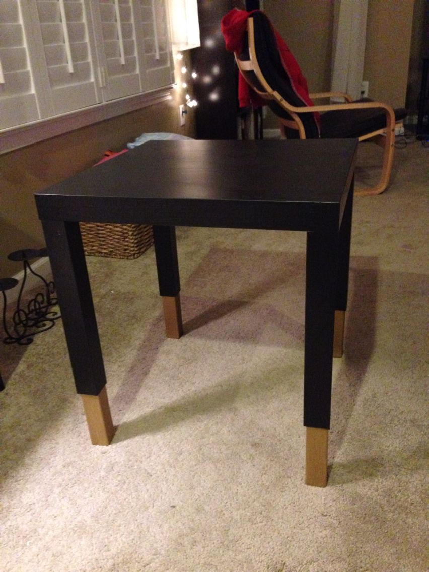 This Fifteen Dollar Lack Table From Ikea Is Too Short For Our Couches So I Bought Some Six Inch Wooden Legs From Home Depot Paint Lack Table Table Side Table [ 1136 x 852 Pixel ]