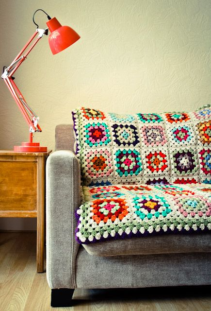 Granny Square Crochet throw. Love it. Perfect colors for my home.
