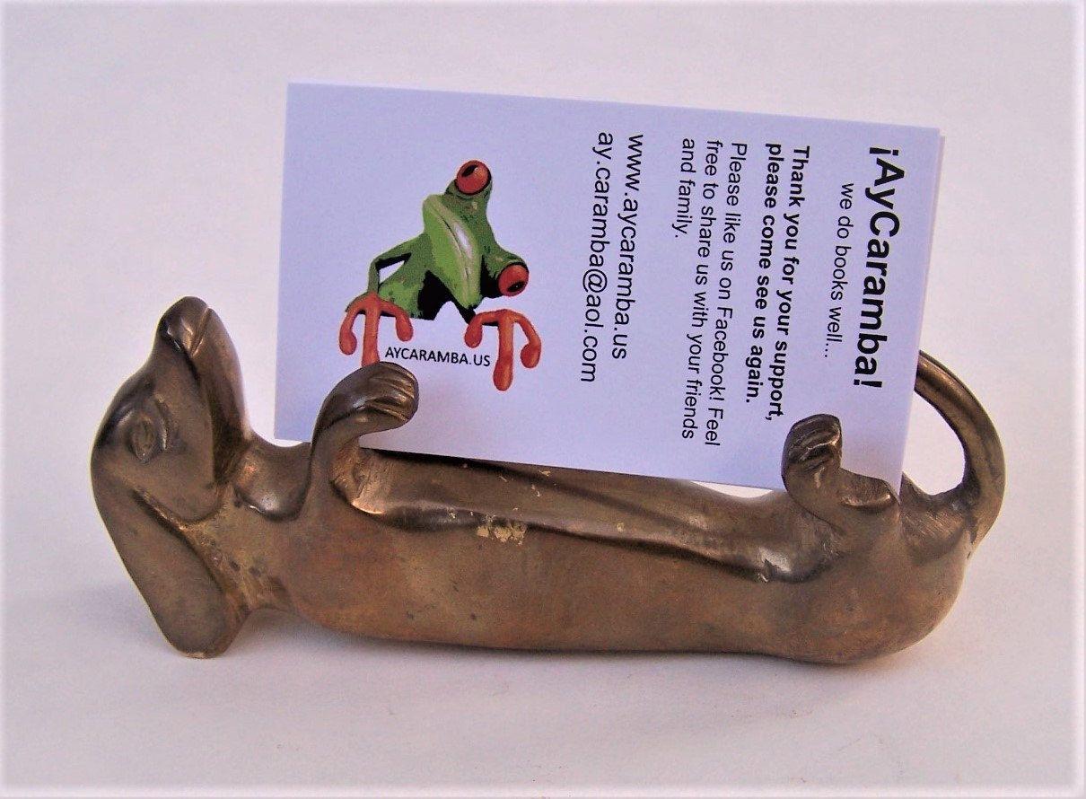 Vintage Solid Brass Dachshund/ Weiner Dog Business Card Holder ...