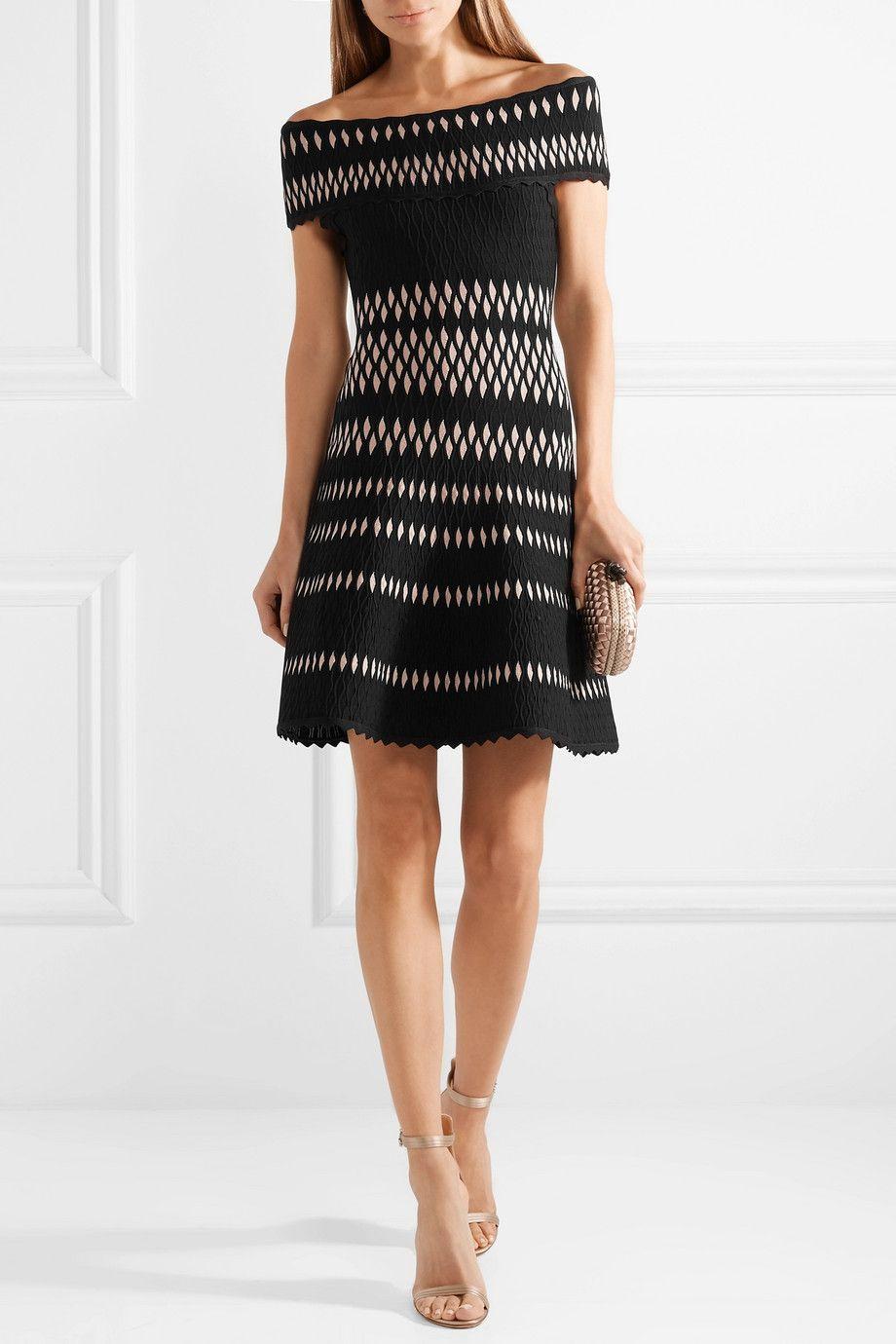 Stretch Jacquard-knit Mini Dress - Black H 1xO01dqVYo