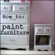 How to paint wooden furniture blog -- don't do what I did and skip the sanding step.  You just have to go back and do it anyway...