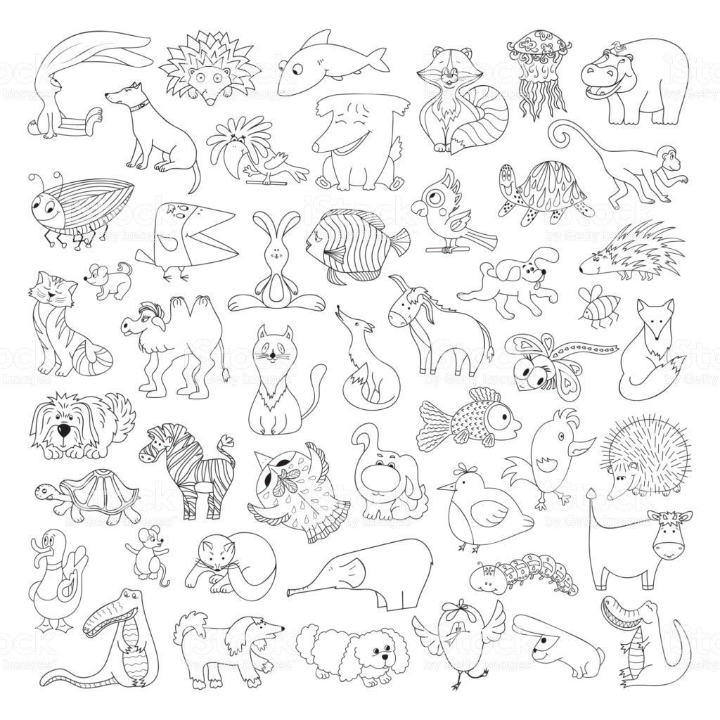 Animal Coloring Pages For Kids Inspirational Big Vector Set Funny Wild Animals And Pets Colorin Animal Coloring Pages Bird Coloring Pages Animal Coloring Books