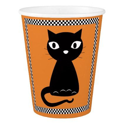 Black Cat with Curled Tail Halloween Paper Cup - halloween decor diy