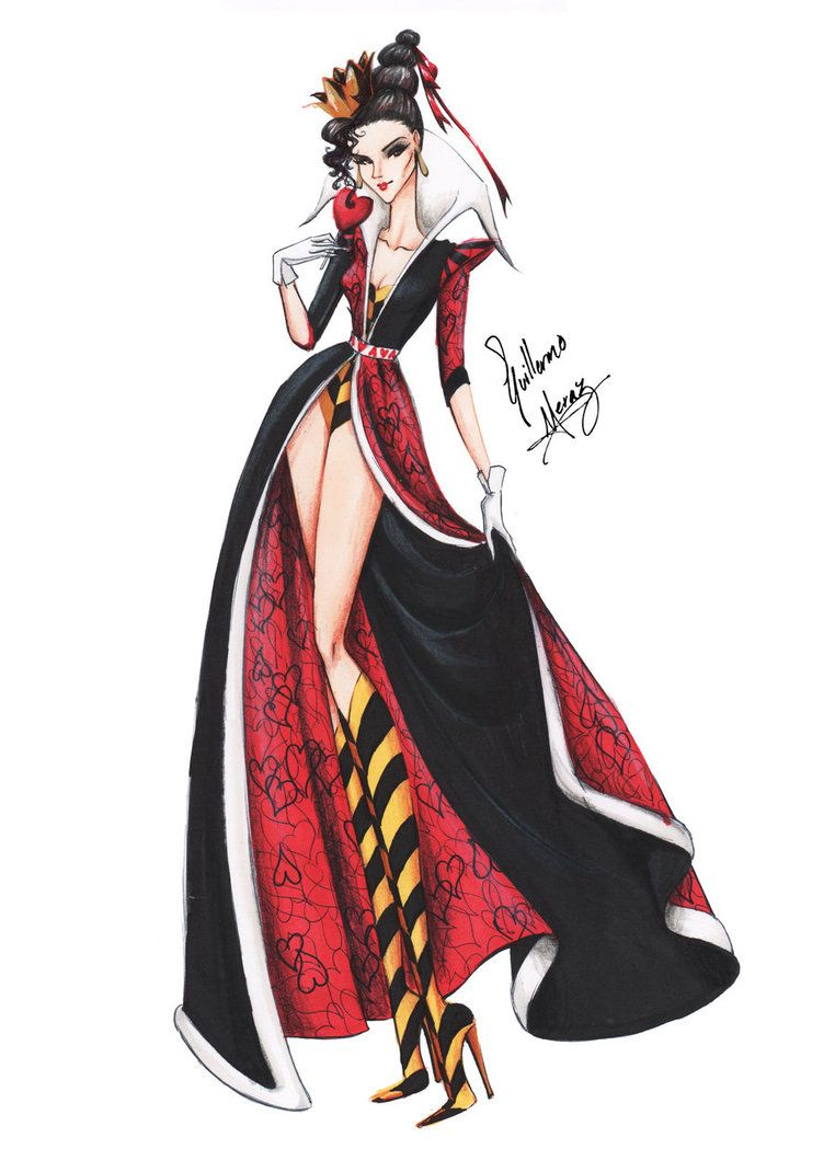 The Queen of Hearts in Haute Couture by frozen-winter-prince on deviants #fashion #illustrations #sketch