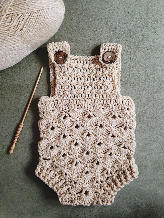 9e9d46b6f71c Crochet PATTERN - Baby Romper (sizes 0-3 and 6-12 months)
